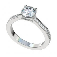 Cathedral Engagement Ring With Bead Set Diamonds 0.18ctw-0.22ctw