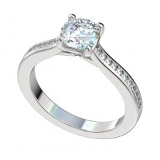 Cathedral Engagement Ring With 0.22ctw Channel Set Diamonds