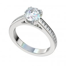 Cathedral Engagement Ring With 0.27ctw Channel Set Diamonds